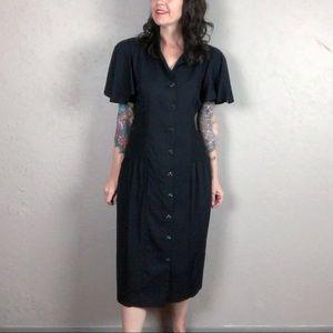 Vintage 80s Black Flutter Sleeve Dress